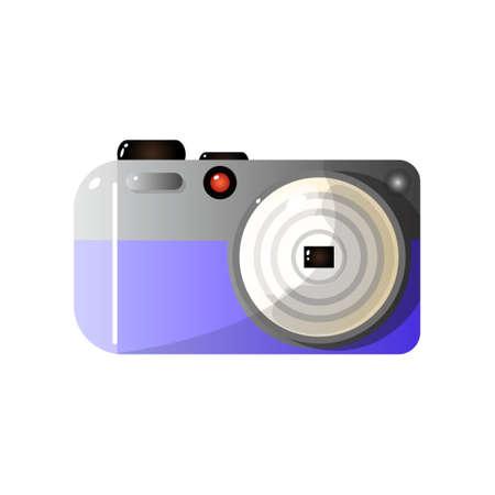 Modern Digital Photo Camera Front View Vector Illustration