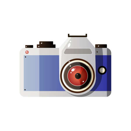 Digital Photo Camera with Lens Vector Illustration