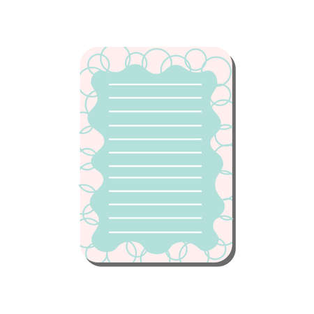 Cute Card with Place for Notes, Light Blue Lined Template Can Be Used for Calendar Daily Planner, Note Paper, Organizer, Schedule Vector Illustration