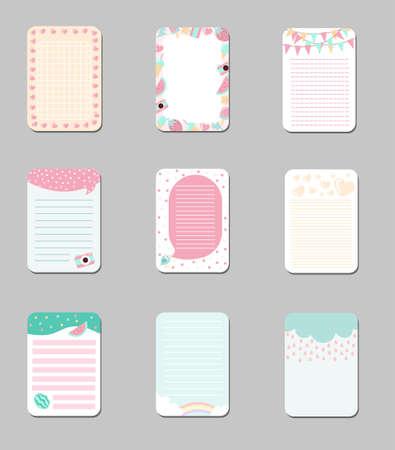 Collection de cartes mignonnes avec place pour les notes, des modèles à la mode peuvent être utilisés pour l'agenda quotidien, le papier à notes, l'organisateur, l'illustration vectorielle de l'horaire