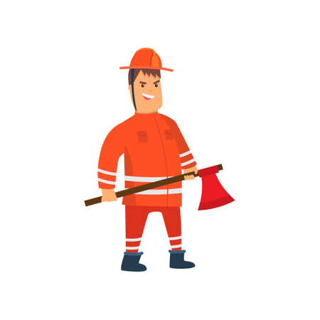 Smiling Firefighter Wearing Orange Protective Uniform and Helmet Standing with Axe, Cheerful Professional Male Freman Cartoon Character Doing His Job Vector Illustration Isolated on White Background.