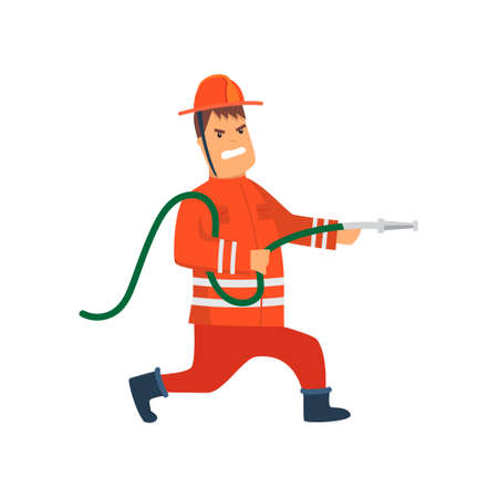 Firefighter Wearing Orange Protective Uniform and Helmet Running with Fire Hose, Cheerful Professional Male Freman Cartoon Character Doing His Job Vector Illustration Isolated on White Background. Vectores
