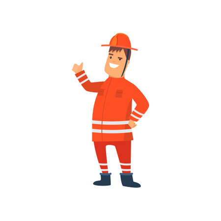 Smiling Firefighter Wearing Orange Protective Uniform and Helmet Showing Approval Gesture, Cheerful Professional Male Freman Cartoon Character Doing His Job Vector Illustration Isolated on White Background.