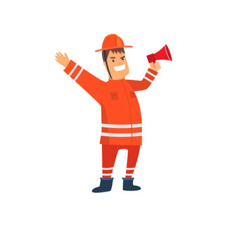 Smiling Firefighter Wearing Orange Protective Uniform Standing with Megaphone, Cheerful Professional Male Freman Cartoon Character Doing His Job Vector Illustration Isolated on White Background. Vectores