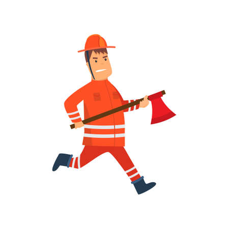 Firefighter Wearing Orange Protective Uniform and Helmet Running with Axe, Cheerful Professional Male Freman Cartoon Character Doing His Job Vector Illustration Isolated on White Background.