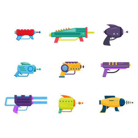 Collection of Space Laser Ray Guns, Colorful Toy Blasters Vector Illustration Isolated on White Background.