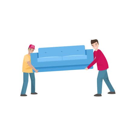 Two smiling men carry a heavy blue sofa on a white background. Instruction for couch transportation