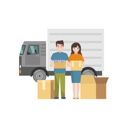 Un couple souriant emménage dans un nouveau lieu de résidence en utilisant les services de transporteur