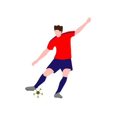 Close-up view of football player, dressed in a bright red T-shirt, who strongly kicks the ball with his right foot, raising his left hand high up Illustration