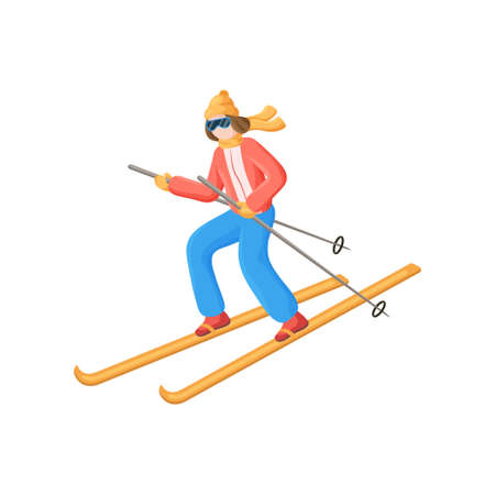 Set of standing, going straight and down skiers in different positions