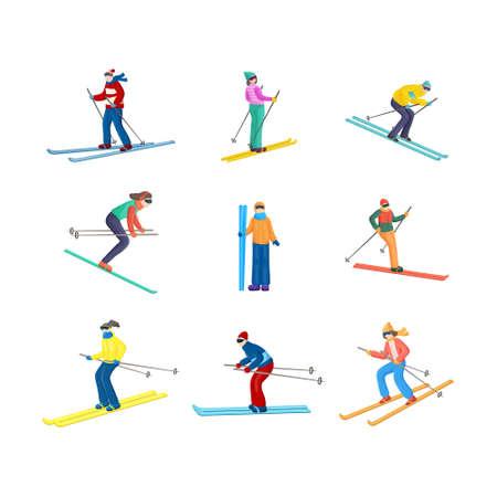 Buntes Set mit vielen stehenden, geraden und abwärts fahrenden Skifahrern in verschiedenen Positionen