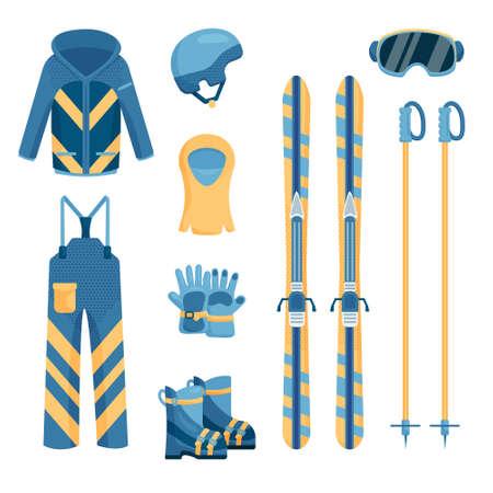 Komplet wygodnego i ciepłego stroju narciarskiego, takiego jak kurtka, spodnie, rękawiczki, śniegowce, kask z czapką, gogle narciarskie, dwa kijki, para nart Ilustracje wektorowe