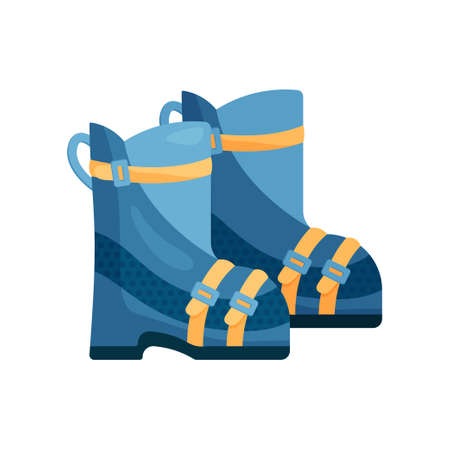 Pair of warm blue ski boots with yellow accents and durable clasp isolated on a white