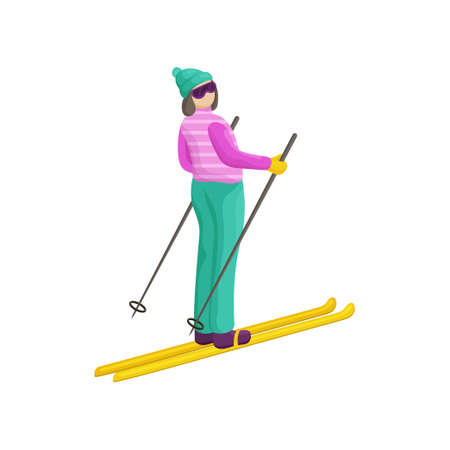 A young woman in a bright ski suit stands with her back and is preparing to descend from the mountain. The girl looks to the side, focusing when to start  イラスト・ベクター素材