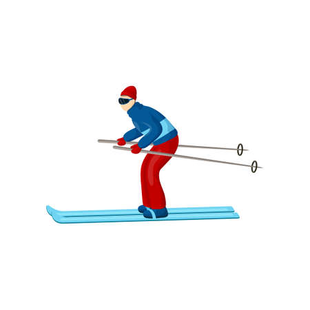 Skier, wearing blue jacket, red gloves, hat and pants, bends way over and moves on a horizontal stretch of track