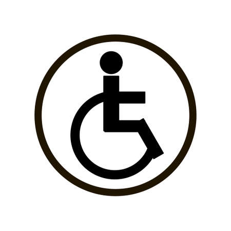 Simple sign with person on disabled carriage in black circle isolated on white background. Disabled handicap door or wall icon for public places, transport.