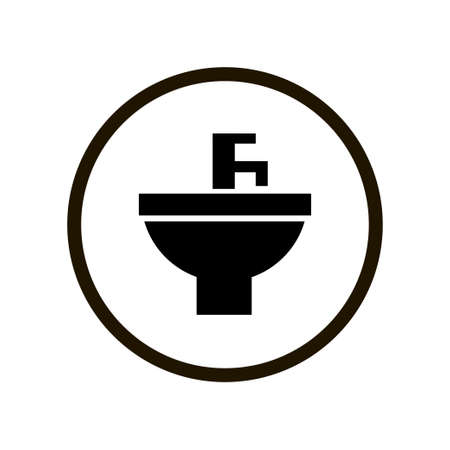 Simple toilet sign with black washbasin and water tap in circle isolated on white background. Washbasin and water tap, sink interior furniture, sink unit icon.