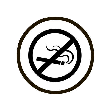 Simple toilet or restroom sign with crossed out smoking cigarette in a double black circle isolated on white background. Icon for public places and washrooms at the airport, office, pub, restaurant. Can be used as warning, caution, gratitude for the implementation of the interdiction. Illustration