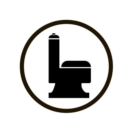 Black flush toilet icon in circle isolated on white background. WC restroom sign, keep toilet clean warning sign. Toilet cleanliness day icon. Hygiene concept