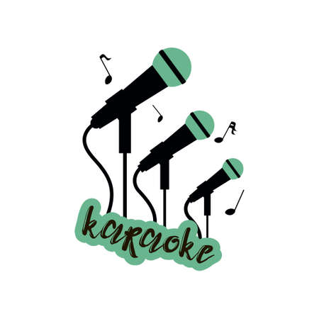 Karaoke emblem with three big, smaller and smallest green and black cord microphones on stand with an inscription Karaoke isolated on white background. Karaoke vocal party labels, badges emblems for karaoke club. Logos template, musical karaoke performance flyer, leaflets composition.