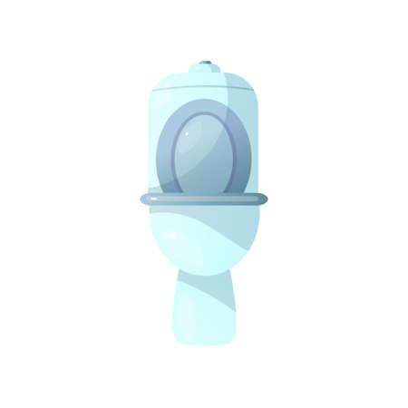 Close-up front view of white ceramic toilet with bowl and raised toilet seat isolated on white background. Classic model. Equipment for bathroom, lavatory, WC. Closet icon. Pedestal pan template.