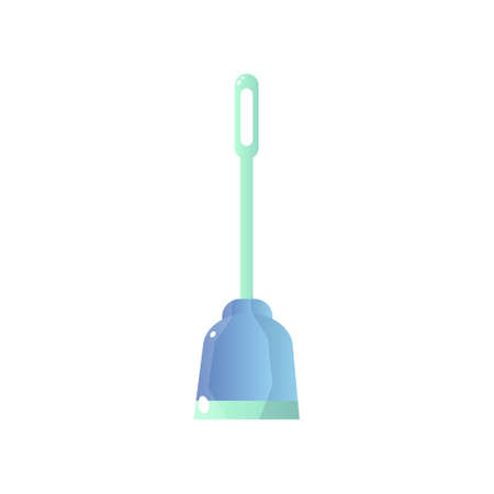 Close-up side view of blue toilet plunger with long green handle isolated on white. Useful accessory collection for cleaning the toilet, sewage facilities from obstruction. Plumber s tool flat icon