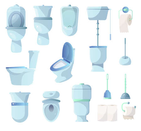 Set of ceramic toilets and other sanitary equipment. Collection of toilet, bidet, plunger, sink, toilet paper, cistern, brush, paper towel. Concept of hygiene, cleanliness sanitation Ilustrace