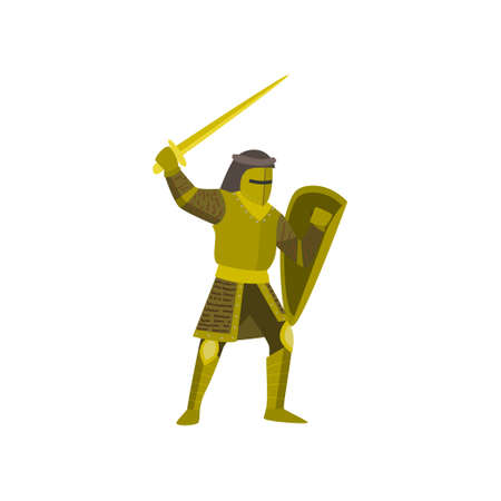 Close-up of knight stands in yellow armor, raises sword and covers body with a shield. Protection pose, planning for repelling an attack. Choice for game label, card, logo, emblem, badges.  イラスト・ベクター素材