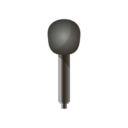 Close-up of classic news microphone in modern style with black round lining on the head isolated against white background. Music equipment and technology. Graphic view, icon of mic.