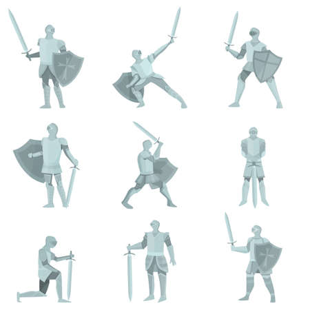 Set of knights in gray steel armor with hand axes, foils, swords in different poses on white background