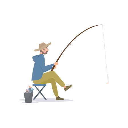 Fisherman Sitting on Folding Chair Beside a Bucket with Fish Caught, Male Fisher Character with Fishing Rod, Vector Illustration