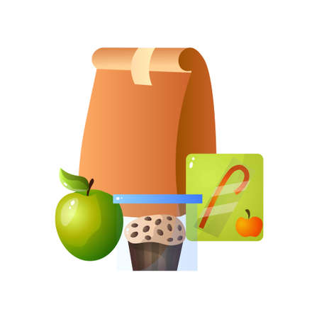 Lunch Paper Bag with Healthy Food, Apple, Muffin and Juice, School Lunch in Paper Packaging Vector Illustration on White Background. Illustration