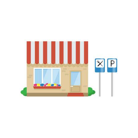 Cafe Building on Highway, Roadside Restaurant Vector Illustration on White Background.