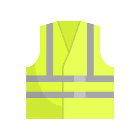 Yellow Reflective Safety Vest, Front View Vector Illustration on White Background. Vector Illustration