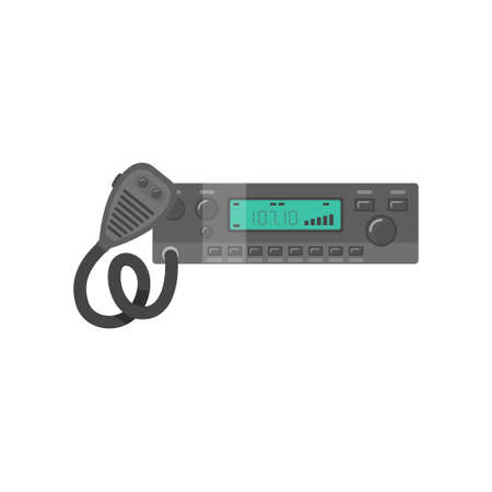 Car Radio Transceiver, Walkie Talkie Vector Illustration on White Background.