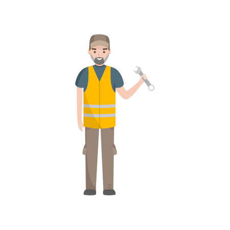 Professional Auto Mechanic Character in Safety Vest Vector Illustration on White Background.