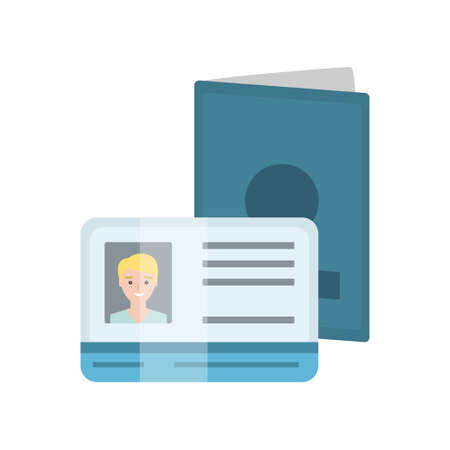 Passport abd Drivers License with Male Photo, Identification or ID Card Vector Illustration on White Background. Ilustração