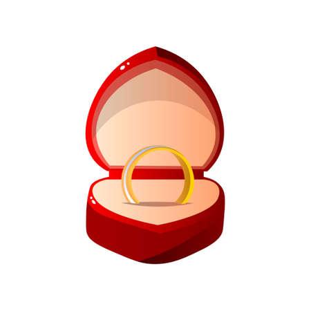 Caja de regalo abierta de terciopelo rojo con anillo, caja de joyería en forma de corazón con anillo de compromiso ilustración vectorial sobre fondo blanco.