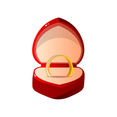 Red Velvet Opened Gift Box with Ring, Heart Shaped Jewelry Case with Engagement Ring Vector Illustration on White Background.