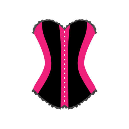 Close up front view of female pink black sexual corset isolated on white background for erotic games. Sex shop concept Illustration