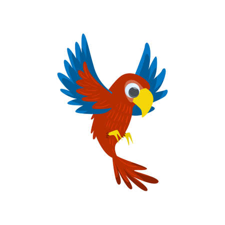 Cartoon cute parrot. Big red flying parrot isolated on white background. Ornithology thematic Ilustracja