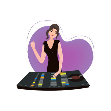 Musical collection. Young female DJ with one hand on desk and another mixing music. Brunette in dress with purple light chaser in shape of heart behind her shoulders. Stylish advertising or invitation flayer Ilustração