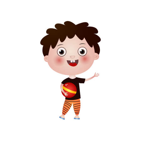 Smiling doodle rosy boy with curly brown hair wearing red sports suit holds ball in his hand. Summer time, happy childhood. Activities and hobbies concept. Teaching card isolated on white background.