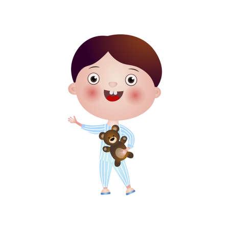 Lindo niño morena sonriente vistiendo pijama de rayas yendo a la cama con su osito de peluche de juguete favorito. Fin de jornada activa. Enseñanza de dibujos animados aislado sobre fondo blanco. Ilustración de vector