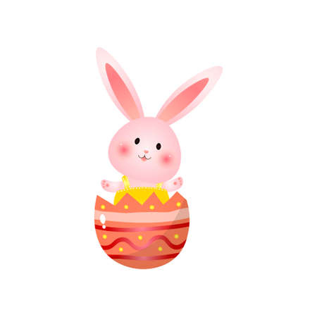 Pretty pink easter bunny wearing yellow clothes sits in broken painted shell of big egg. Celebratory card with funny female rabbit waving paws isolated on white background. Holidays concept. Illustration