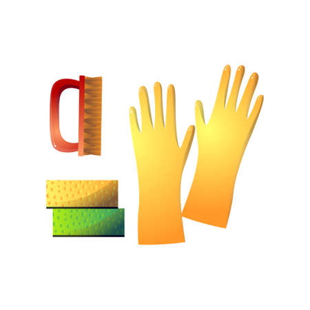 Household supplies and cleaning such as yellow rubber gloves, red stiff brush and two sponge isolated on white background. Hygiene and sanitation concept. Illustration