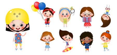 Set of interesting time leisure for children. Kids doing active sport pastime, read book, have rest, eat fruits, take care pets, walking, ride roller skates. Sport childhood and activity concept.