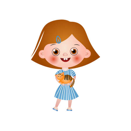 Young rosy girl with red hair and barrette holding striped cat in hands isolated on white background. Happy childhood, care for pets concept.