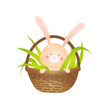 Kawaii rabbit sitting in basket filled with green grass. Little rosy easter bunny smiling isolated on white background. Design element for greeting cards, invitation, poster.