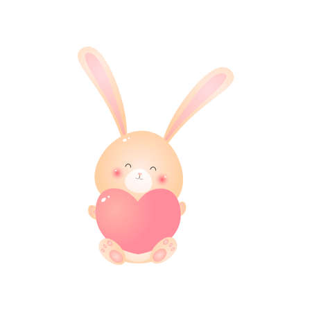 Kawaii sitting rabbit pink heart in paws. Little rosy hare smiling isolated on white background. Design element for greeting cards, invitation, poster.